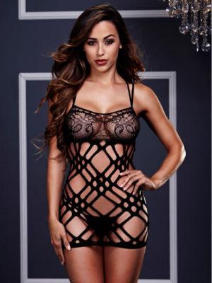 double strap lace mini dress