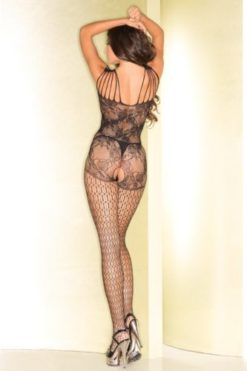 fishnet open crotch floral bodystocking