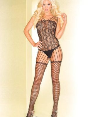 black bodystocking with straps