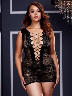 corset front lace mini dress queen size
