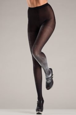 black pantyhose with silver sheen