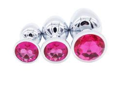 set of three pink jewel anal plugs NZ