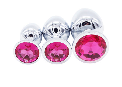 set of three pink jewel anal plugs NZ