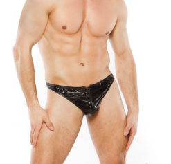 wet look zipper thong for men