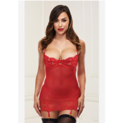 open cup chemise with garters